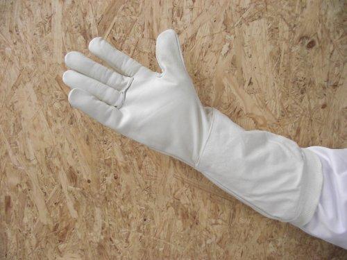 Premium Imkerhandschuhe naturell- echtes, sehr kräftiges und weich gearbeitetes Leder mit extra langer Stulpe - Größe 10
