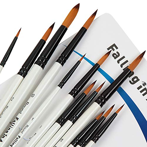 Falling in Art Paint Brushes Set, 12 PCS Nylon Professional Round Paint Brushes for Watercolor, Oil Painting, Acrylic, Face Body Nail Art, Crafts, Rock Painting