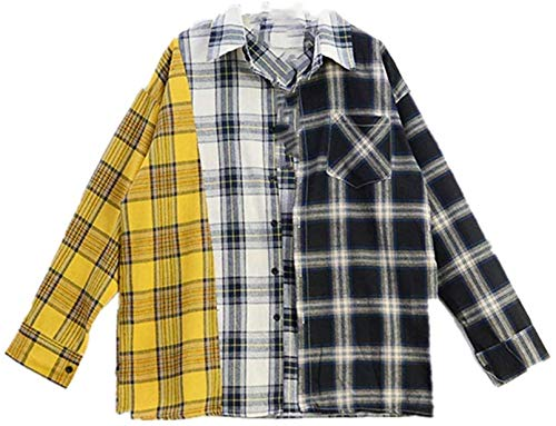 SXhyf BTS MerchandiseNEWSUGA jin Same Korean Spell Color Plaid Shirt SweatshirtsThe Best Souvenir (Color : Yellow, Size : L)