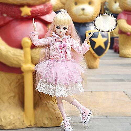 JLIMN BJD Doll 23,6 Zoll 18 gegliederte Puppen DIY Spielzeug mit Kleidung Outfit Schuhe Perücke Haar Bilden Mädchen,J