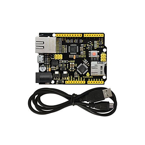 KEYESTUDIO Module & Accessory for Kits W5500 Ethernet Development Board support MicroSD Card w/USB Cable (No POE) Compatible with Arduino Starter Kit