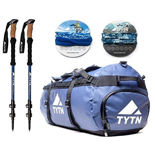 TYTN Hiking Bundle - 90L Duffel + Trekking Poles + 2x Neck Warmers (Carbon Fiber)