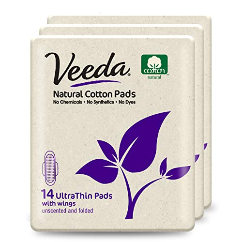Veeda Ultra Thin Super Absorbent Day Pads Are Always Chlorine Pesticide Dye and Fragrance Free Natural Cotton Sanitary Napkins, 3 Packs of 14 Count Each