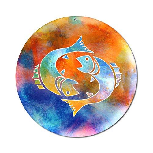 Sternzeichen Fische Nr. 02. Ø 15cm Glasbild Aufhänger Fensterbild bruchsicheres Acrylglas Sonnenfänger Astrologie Blickfang Geschenk Dekoration Fenster - EINWEG Verpackung -
