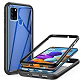 ivencaseSamsung Galaxy A21SCase, Full BodyPCBack TPUEdgeHybridAll RoundBumperShockproofProtectionCaseCoverforSamsung Galaxy A21SBlack/Clear