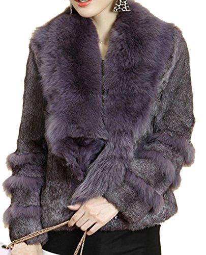 Helan Damen Kurz echtem Kaninchenfell-Mantel mit Big Echtfuchspelzkragen Violett EU 42
