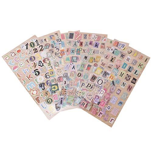 ZQO 6 Hojas/Lote inglés Colorido Alfabeto número Retro Pegatina autoadhesiva Letra para DIY álbum Diario Decorativo Hecho a Mano Pegatina Scrapbooking