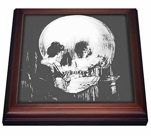 3dRose All is Vanity-Ghost, Halloween, Optical Illusion, Paranormal, Silhouette, Skeleton Trivet with Ceramic Tile, 8 by 8', Brown