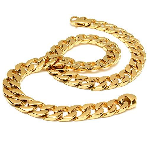 Schmuck-Checker breite XXL Goldkette große Panzerkette aus 316L Edelstahl vergoldet Männer Halskette hochwertig schwer massiv Bikerschmuck Hiphop Rapper Kette (70)