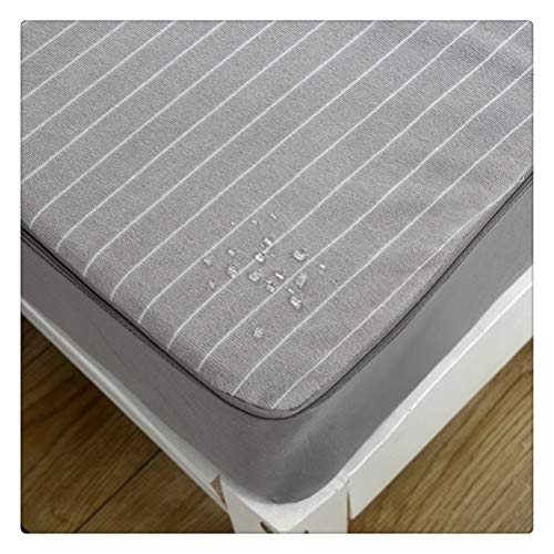 Yousiju Waterproof Mattress Cover Six sides full package solid color Mattress Protector Cover Waterproof Bed Sheet (Color : Gray, Size : 90X200X25CM)