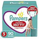 Diapers Size 5, 90 Count - Pampers Cruisers 360° Fit Disposable Baby Diapers, Enormous Pack (Packaging May Vary)