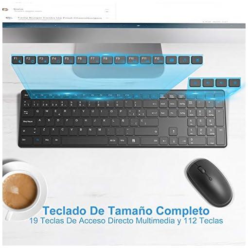 WisFox Combo de Teclado y Mouse Inalámbricos, 2.4G Mouse de Teclado Delgado de Tamaño Completo Packs con Receptor Nano… 7