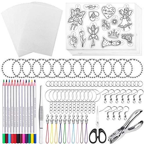Shynek 205 Pieces Shrinky Art Kit for Shrinky Dink, Include 20 PCS Shrinky Art Paper and 185 PCS Keychains Accessories for Kids