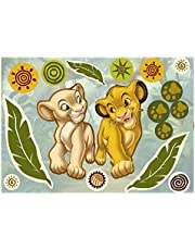 Komar - Disney - Deco-Sticker SIMBA AND NALA - 50 x 70 cm - Muurtattoo, Muurstickers, muursticker, muurschildering, Koning der Leeuwen, Baby - 14040h, Kleurrijk