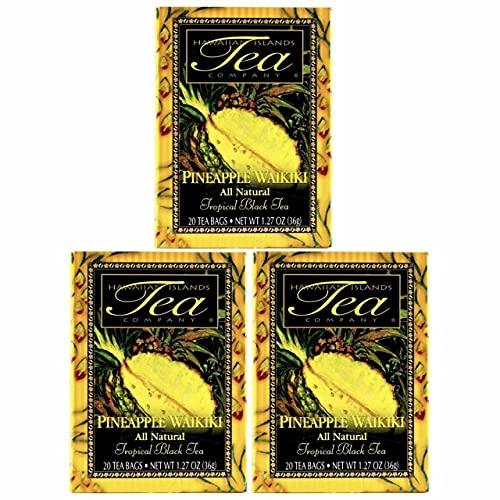 Hawaiian Islands Pineapple Waikiki Tropical Black Tea, All Natural - 20 Teabags Per box (60 Tea Bags (Pack of 3))