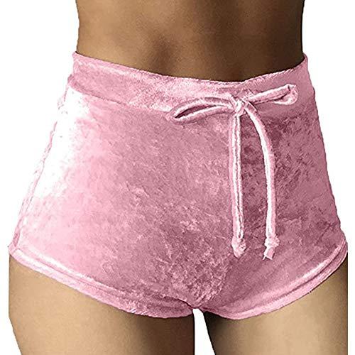 Rela Bota Damen-Shorts, weich, hohe Taille, Samt, mit Kordelzug, lässig, Booty-Shorts - Pink - Groß