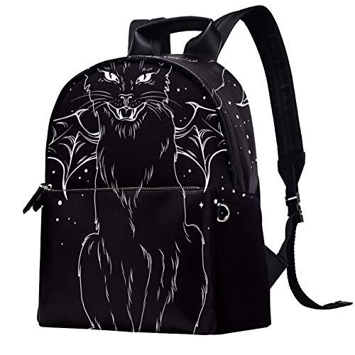 Mochila de cuero gato con alas de monstruo Luna y Estrellas Escuela Universitaria Bolsa de viaje Bolsa de oficina mochila portátil para mujeres hombres