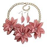 MKmd-s Exquisito Collar de Flores, Conjunto de aretes, Rosa Natural Fresco