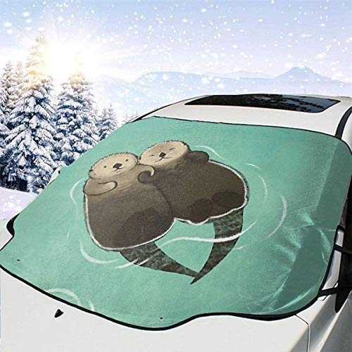 lovely baby-Z Otters Lover Car Windshield Snow Cover, Ice Removal Sun Shade for Winter Protection, Universal Fit for Cars Trucks Vans and SUVs Thick and Large