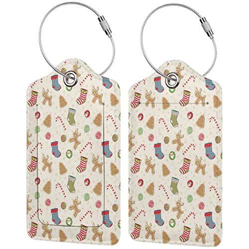 VORMOR Gepäckanhänger Kofferanhänger mit Adressschild,Traditionelle Süßigkeiten der Weihnachtsfeier Lebkuchenplätzchen Lutscher-Bonbons mit Socken,(2 Stück)