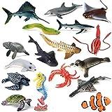 17 piezas animales de la vida marina delfín cangrejo tiburón tortuga modelo figuras de acción océano marino acuario miniatura educación juguetes
