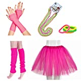 InnoBase 1980s Fancy Dress Zubehör Kunststoff Neon Tutu Beinwärmer Fishnet A1