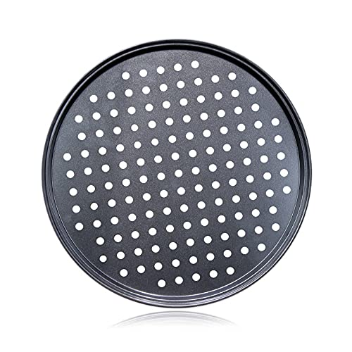 Pizza Steel Pan for Oven,Pizza Crisper Pan with Holes 12 Inch, Nonstick Round Pizza Baking Sheet Oven Tray, mobzio Perforated Carbon Steel Pizza Bakeware For Home Restaurant Kitchen Baking (12 Inch)