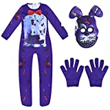 Kids Five Nights at Freddy's Nightmare Bonnie Rabbit Jumpsuit + Mask + Gloves Bodysuit Rompers Overall Cosplay Costume Purple