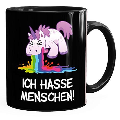 MoonWorks® Kaffee-Tasse mit Spruch Ich hasse Menschen kotzendes Einhorn Bürotasse lustige Kaffeebecher schwarz Keramik-Tasse