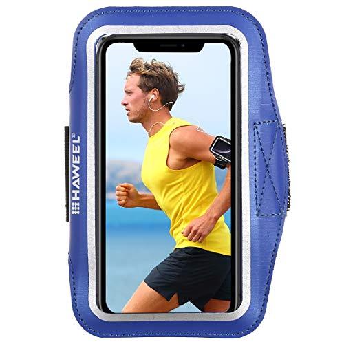 Sportarmband universele sportarmband voor elke mobiele telefoon, Android smartphone, MP3-speler, armtas touch-functie 17-26 cm omtrek waterafstotend neopreen en nylon, tas met sleutelvak blauw