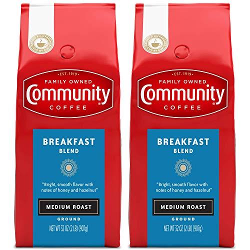 Community Coffee Breakfast Blend Medium Roast, Premium Ground, 32 Ounces (Pack of 2)
