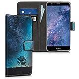 kwmobile Carcasa Compatible con Huawei P10 Lite - Funda de Cuero sintético con árbol y Estrellas - Case con Tarjetero