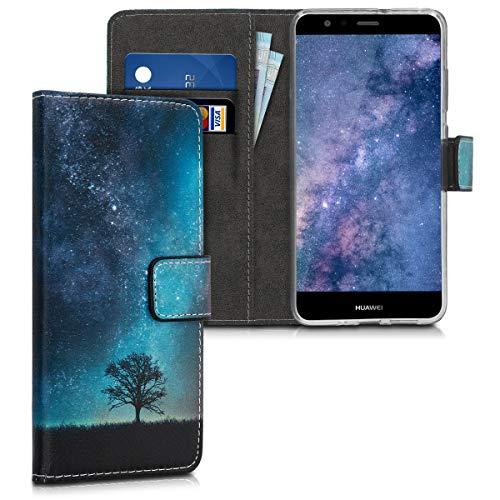 kwmobile Hülle kompatibel mit Huawei P10 Lite - Kunstleder Wallet Case mit Kartenfächern Stand Galaxie Baum Wiese Blau Grau Schwarz