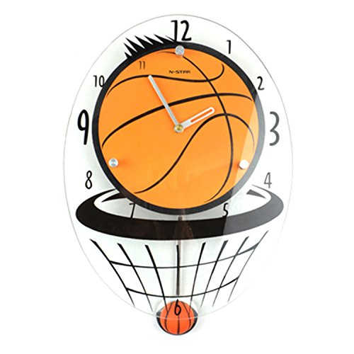 CivilWeaEU- Cute Children's Basketball Creative Silence Horloges Mode Salle de Séjour Suspendre Table Personnalité Cartoon Swing Wall Clock Décoration
