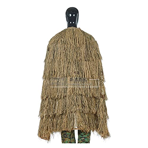 PJRYC Stealth Cloak Ghillie Suit Ejército Fan CS Field Combat Capacitaciones Camo Ropa DE Camo DE Trabajo AIRNUBLE Caza DE Caza Militar (Color : Desert Cloak, Size : One Size)