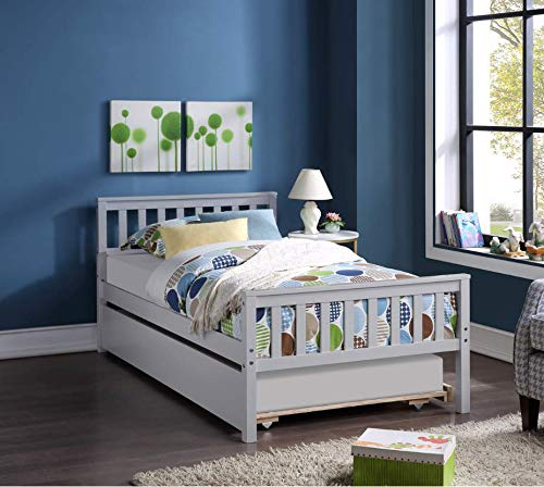 V-HOME Twin Bed with Trundle, Solid Wood Twin Platform Bed Frame with Footboard & Slatted Headboard Captains Bed for Teens Boys Girls Bedroom/No Box Spring Needed (Grey)