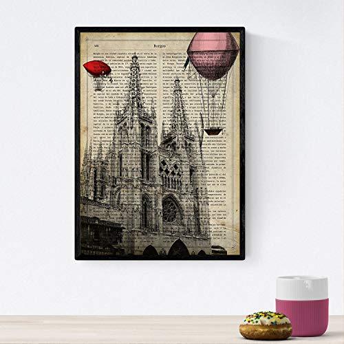 Nacnic Poster de Burgos catedral. Láminas de ciudades españolas con definiciones. Decoración de interiores para...