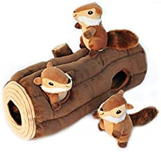 ZippyPaws - Woodland Friends Burrow, Interactive Squeaky Hide and Seek Plush Dog Toy - Chipmunks 'n Log