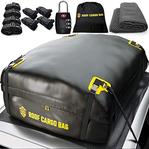 Car Top Carrier Roof Bag 15 or 20 Cubic +Protective Mat +Easy to Install