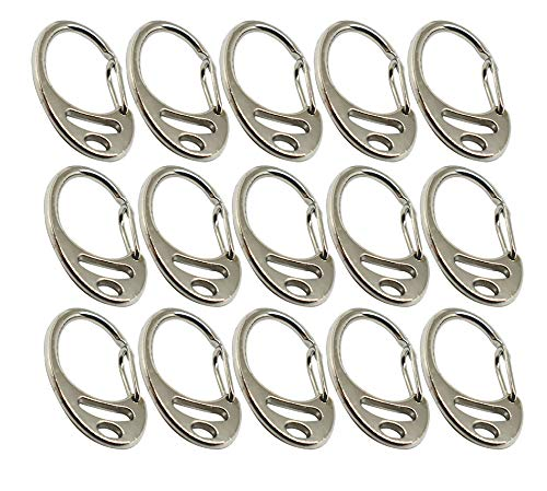 Bytiyar 15 pcs Small Spring Snap Hook Metal Carabiner Clips Keychain Clasp for Keys Backpack Lanyard Pet Tag Paracord Accessories, Silver