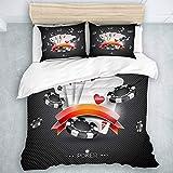 446 HBGDFNBV - Juego de funda de edredón para cama de 3 unidades, diseño de casino con símbolos de póquer y tarjetas de póquer, juego de edredón para decoración de dormitorio