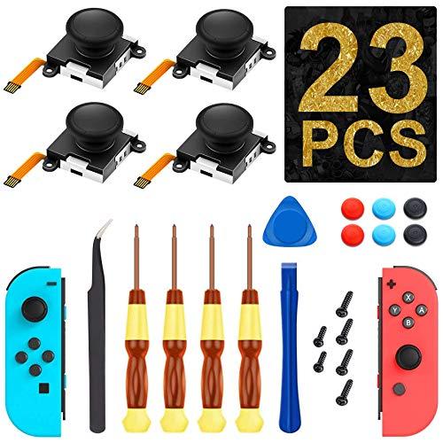 (4 Pack) Joycon Joystick Replacement 3D Joystick Analog Left/Right Thumb Sticks Sensor Parts for Nintendo Switch Joy Con Controller, Full Repair Tool Set(23 in 1)[New Version]
