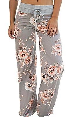 AMiERY Pajamas for Women Women's Pajama Pants Pajamas for Women Palazzo Lounge Pants High Waist Casual Floral Print Drawstring Wide Leg Pants (Tag XXL (US 12), Light Grey)