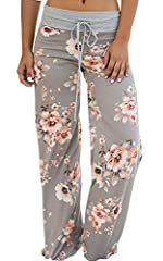 Brand New and High Quality.Polyester. Stretch material,super comfy.Pajama pants, lounge pants, casual pants, palazzo pants, yoga pants, wide leg pants with drawstring, floral print, comfy and stretchy Lounge pjs pants for a cute look. You can get a l...