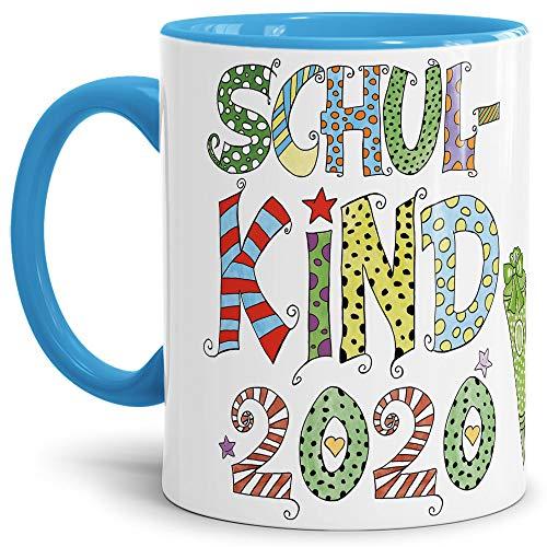 Tassendruck Geschenk Tasse zur Einschulung für Kinder mit Spruch - Schulkind 2020 - Geschenkidee zum Schulanfang/Erinnerung Schulbeginn/Erstklässler 2020 Junge - Innen & Henkel Hellblau