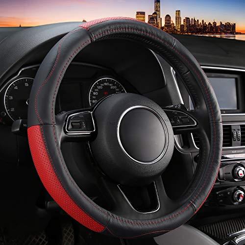WY-CAR Suave Confortable Cuero Auténtico Cubierta Volante, Antideslizante Transpirable Volante Protector, Fundas Volante Coche Universal 37-38cm / 15',Rojo