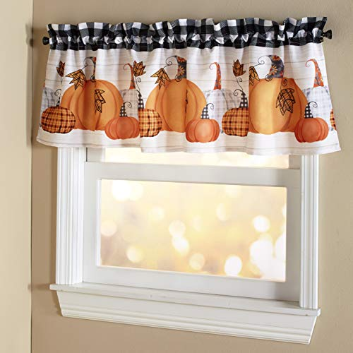 The Lakeside Collection Plaid Pumpkin Bathroom and Kitchen Window Valance with Autumn Motif