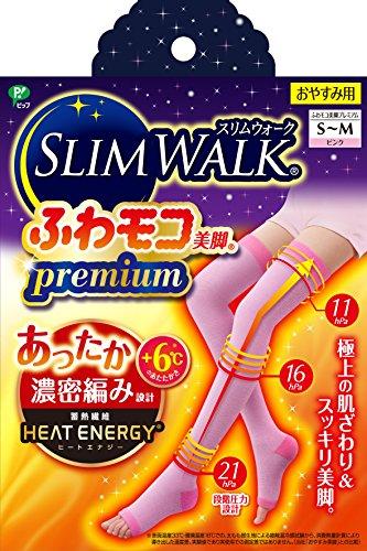 スリムウォーク (SLIM WALK) ふわモコ美脚プレミアム S~Mサイズ ピンク 着圧 ソックス