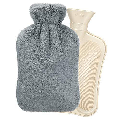 Bolsa de Agua Caliente, Homealexa Botellas de Agua Caliente con Suave Felpa Funda 2L Natural Goma Agua Caliente Bolsa Hot Water Bottle para Mantener el Agua Gris