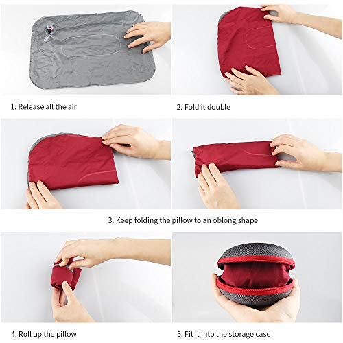 Koyoso Almohada Inflable de Acampada para el Cuello Roseo Almohadas Hinchable de Viaje con Estuche de Transporte